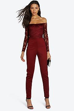 Tall Kami Lace Off The Shoulder Jumpsuit