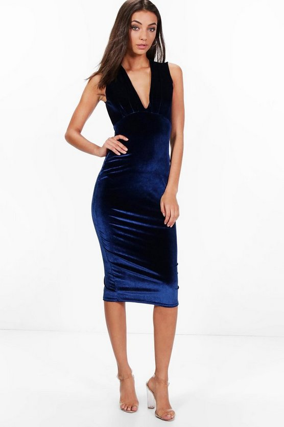Tall Millie Velvet Plunge Neck Midi Dress