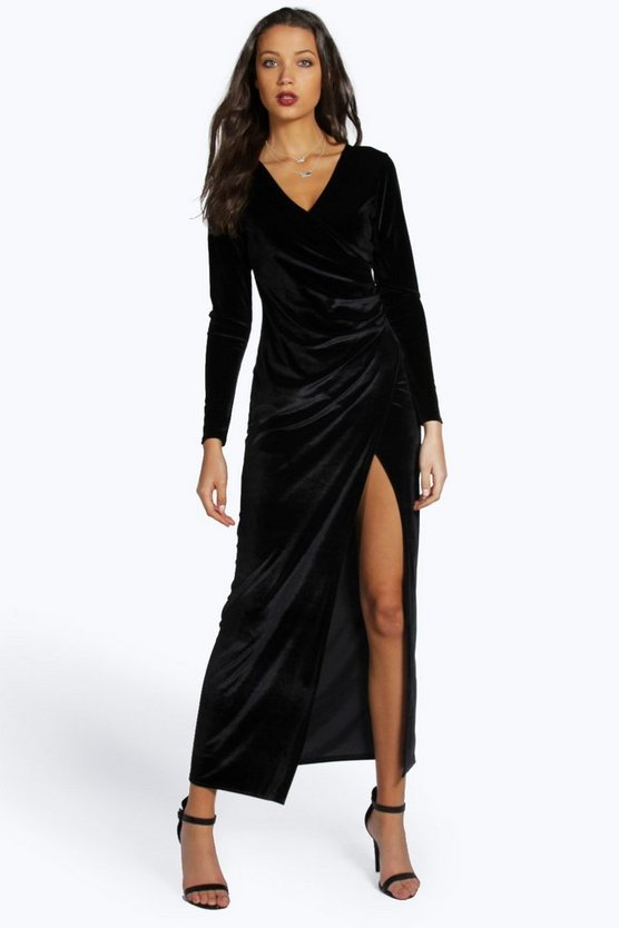 Tall Martha Velvet Side Split Long Sleeve Maxi Dress