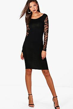 boohoo female tall susie lace sleeve mini bodycon dress