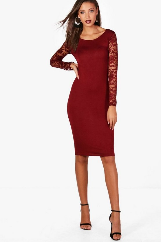 Tall Lace Sleeve Mini Bodycon Dress