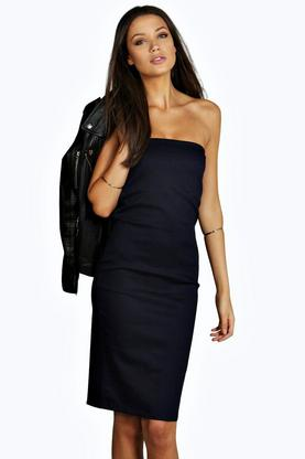 Tall Scarlett Denim Bandeau Bodycon Midi Dress