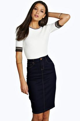 Tall Talia 5 Pocket Denim Midi Skirt
