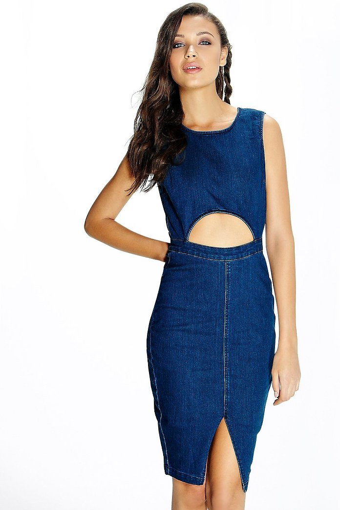 Tall Marley Denim Cut Out Waist Midi Dress