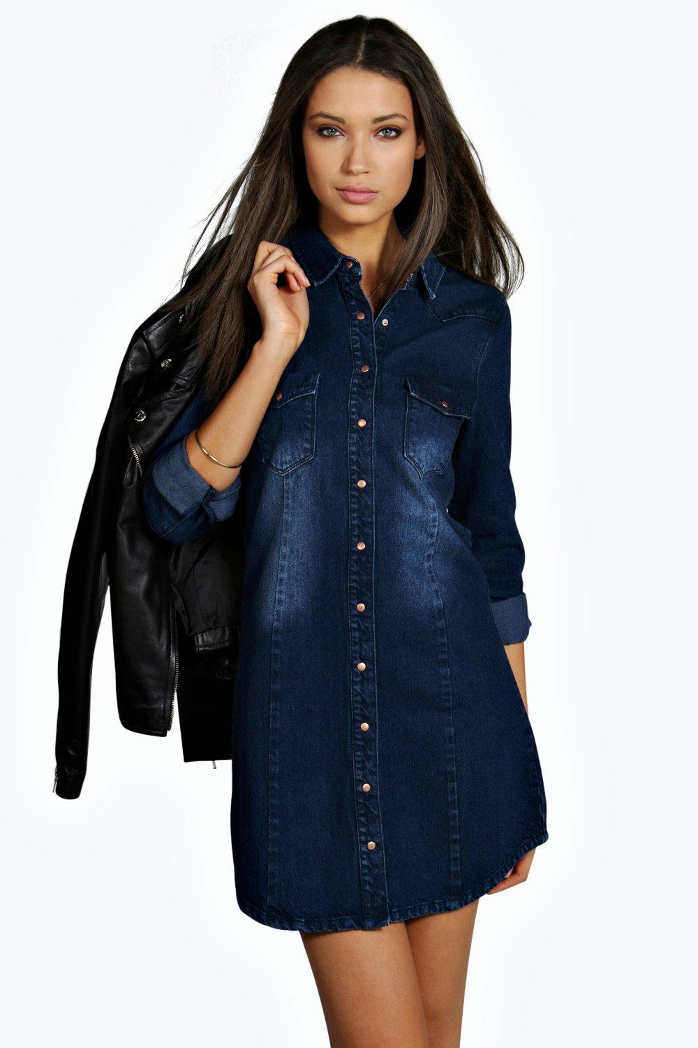 Mira Dark Wash Denim Shift Dress indigo
