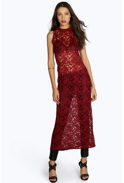 Tall Marcelle Lace High Neck Maxi Top