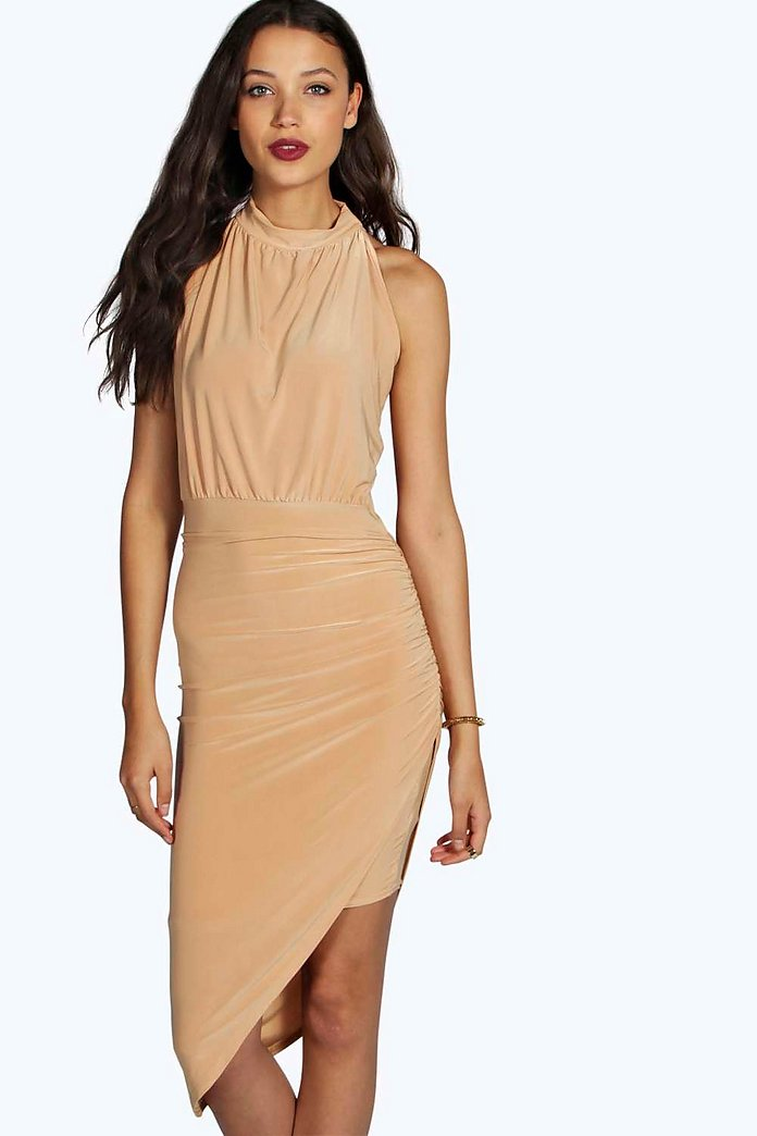 Tall Darcy High Neck Side Slinky Dress