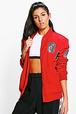Amelia Padded Varsity Badged Bomber Jacket
