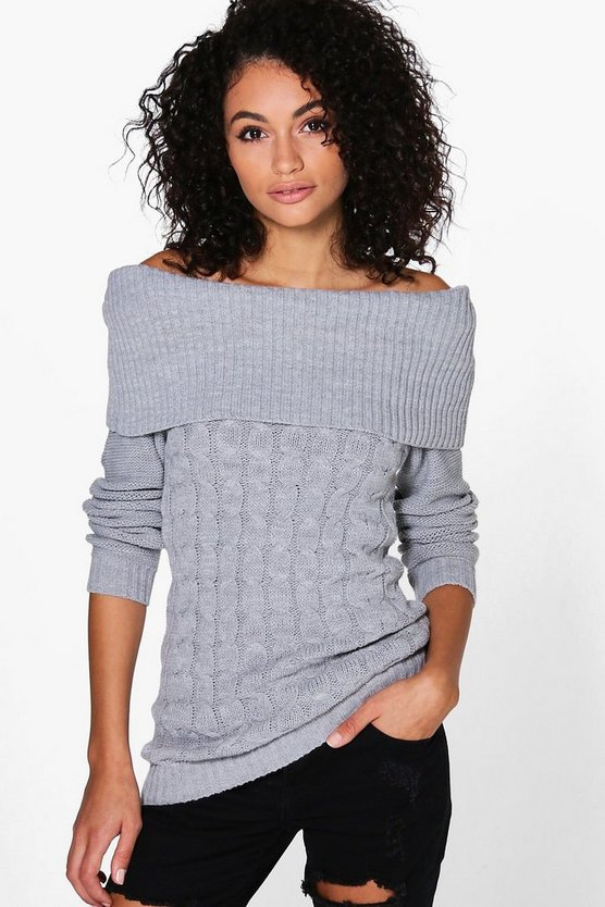 Melissa Off The Shoulder Cable Knit Jumper