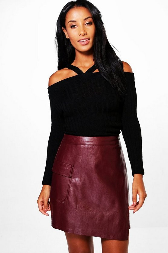 Zoey Rib Knit Cold Shoulder Jumper
