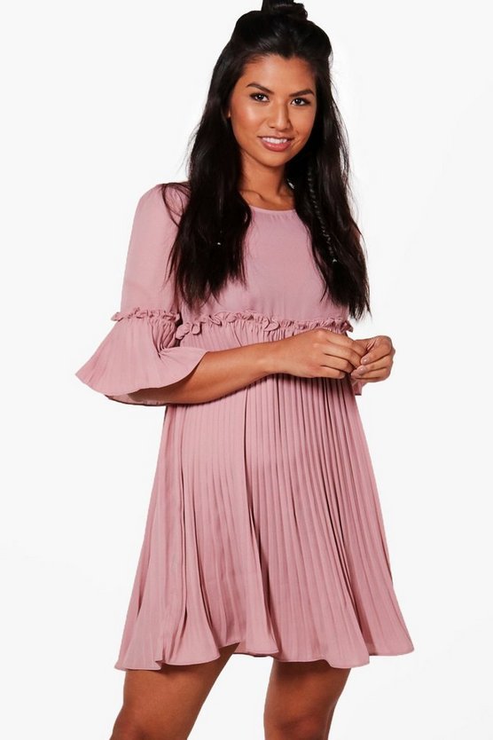 Lucie Ruffle Pleat Woven Dress