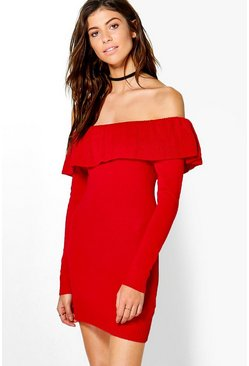 Poppy Frill Neck Long Sleeve Jumper Dress