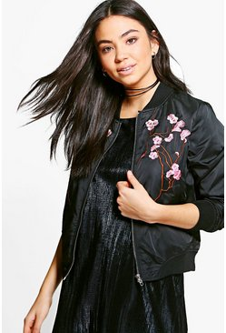 Emily Oriental Embroidered Bomber Jacket