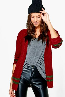Jessica Stripe Hem Edge To Edge Cardigan