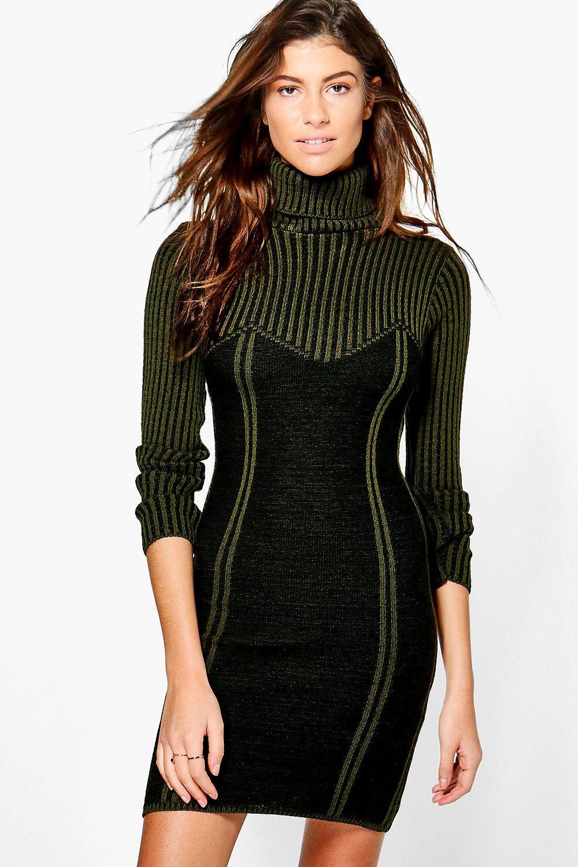 Rib Knit Detail Jumper Dress  black