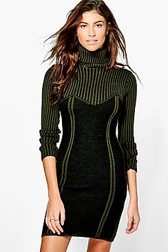 Grace Rib Knit Detail Jumper Dress