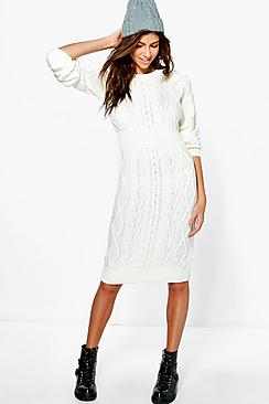 Emma Cable Knit Jumper Dress