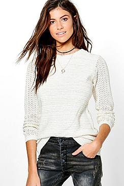 Isabella Pointelle Sleeve Jumper