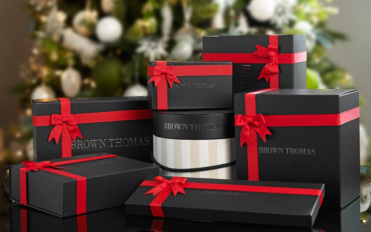 Christmas gift wrap whether its our signature striped hat boxes festive christmas hampers or classic black gift boxes discover the most beautiful wrapping for the perfect negle Gallery