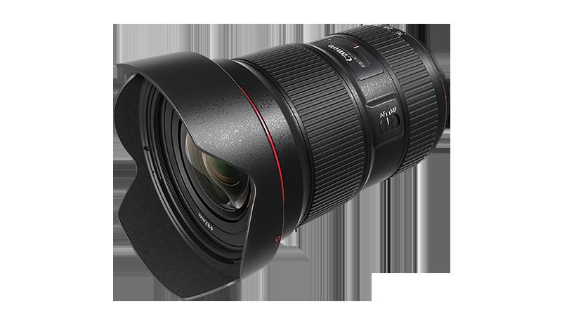 Canon EF 16-35mm f/2.8L III USM Pack shot slanted with lens hood