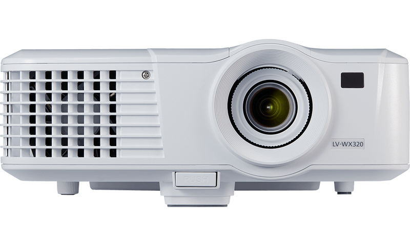 Front product shot of compact & protable projector model LV-WX320