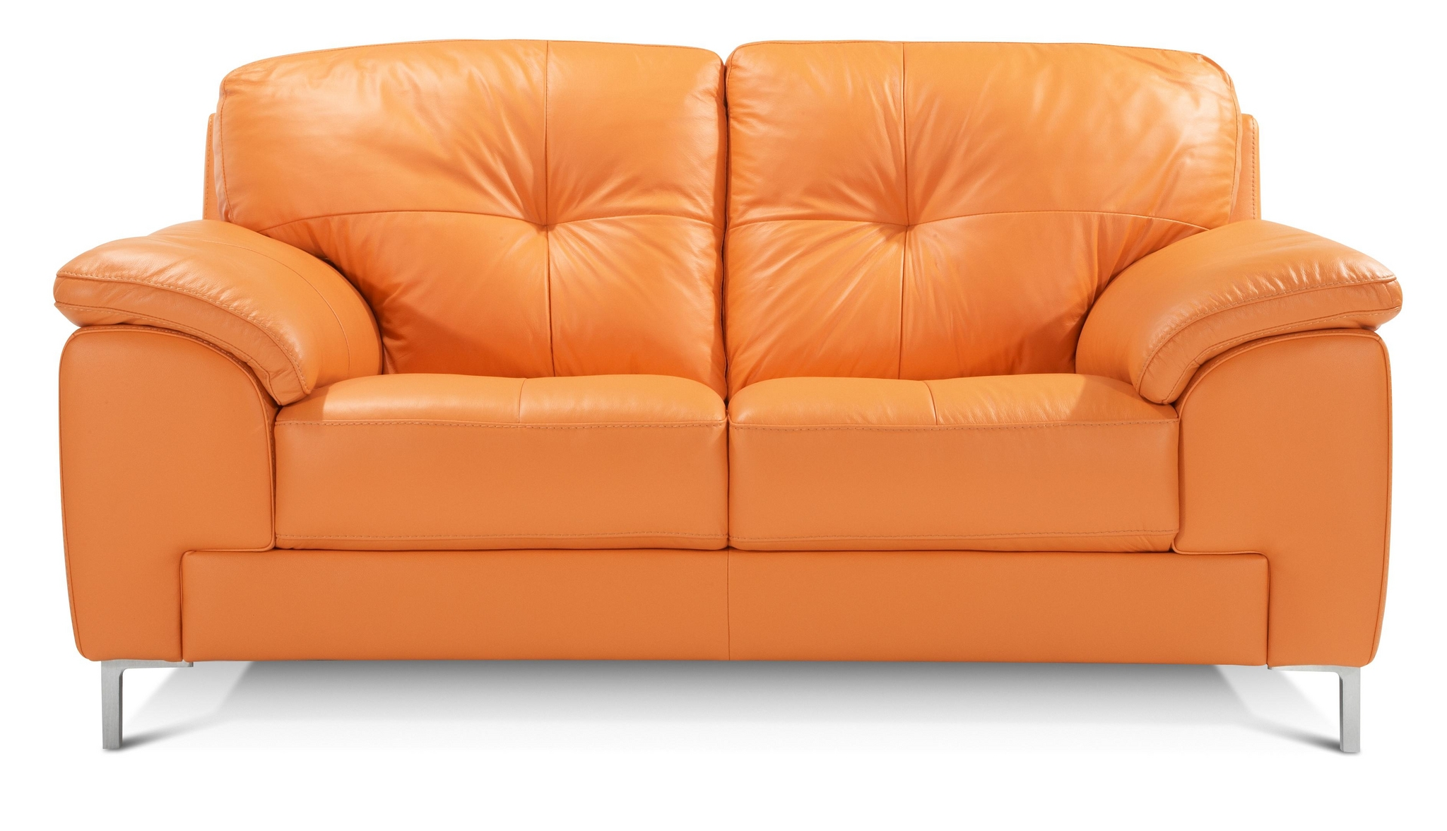Dfs Ainsley 100 Real Leather Orange 2 Seater Sofa Ebay