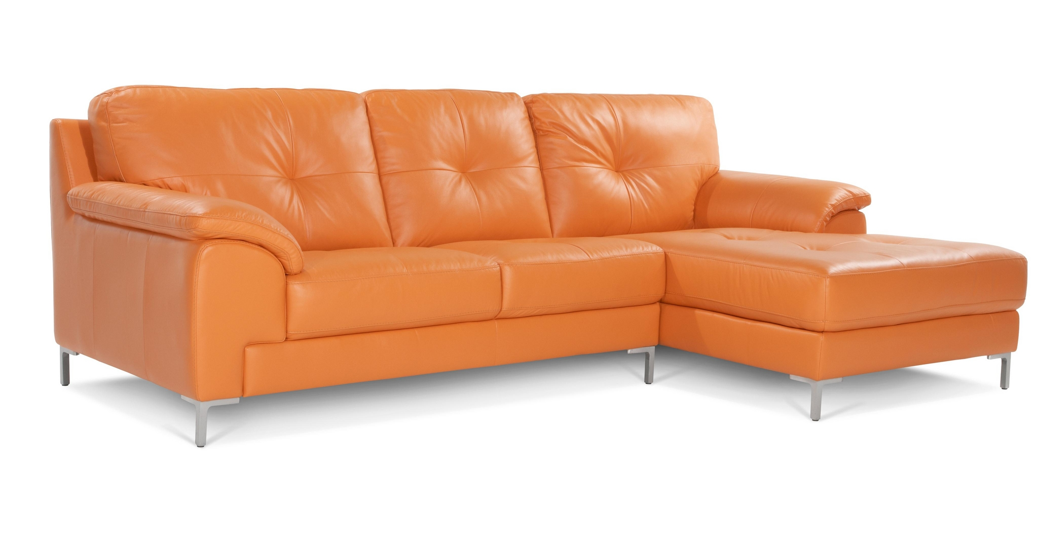 Dfs Ainsley Right Hand Facing 100 Orange Leather Chaise End Sofa Ebay