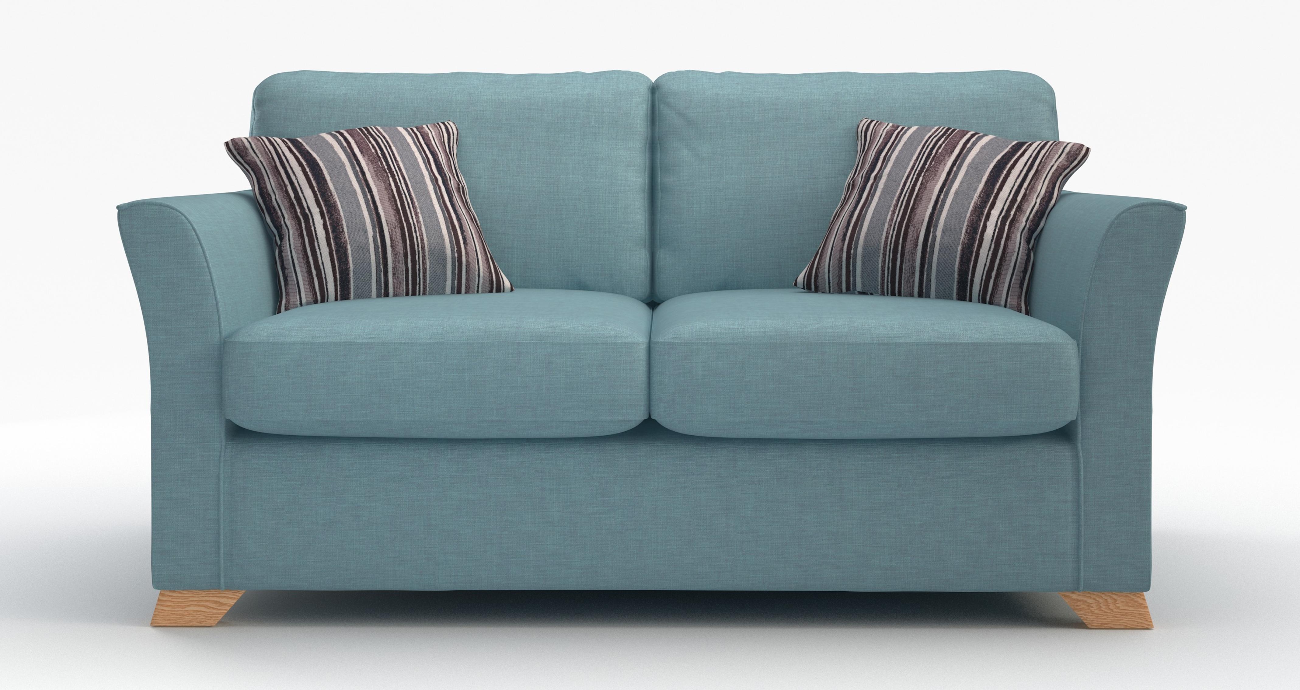 Dfs Zuma Sky Blue Fabric Range 3 Seater 2 Str Sofa Bed