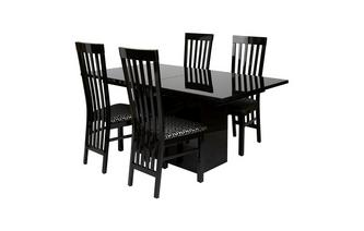 Extending Dining Table & Set of 4 Slat Back Chairs Adelphi