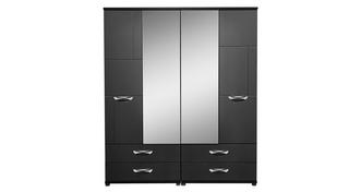 Adonis 4 Door Mirror Robe with Drawers