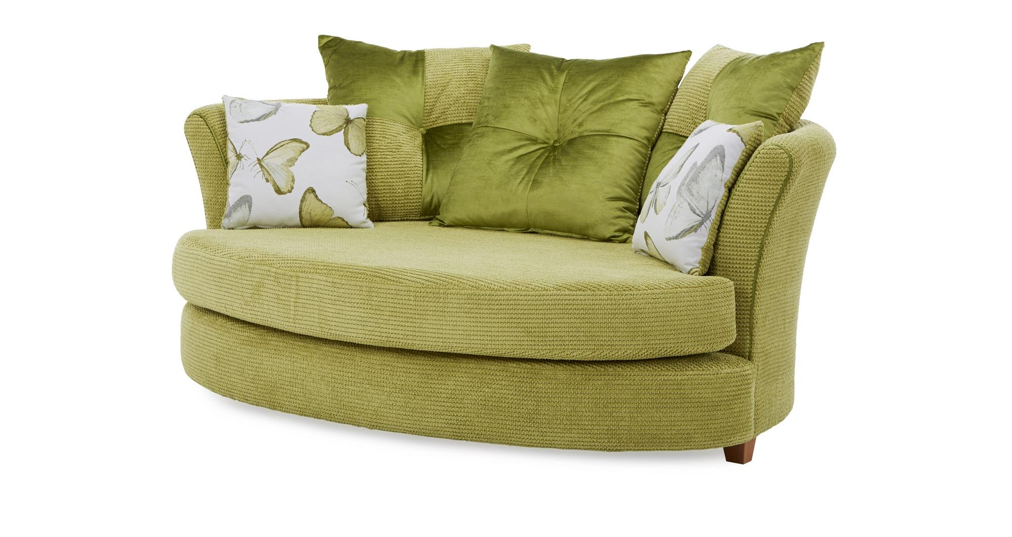 Dfs Alegra Lime Green Fabric Cuddler Sofa Amp Patterned