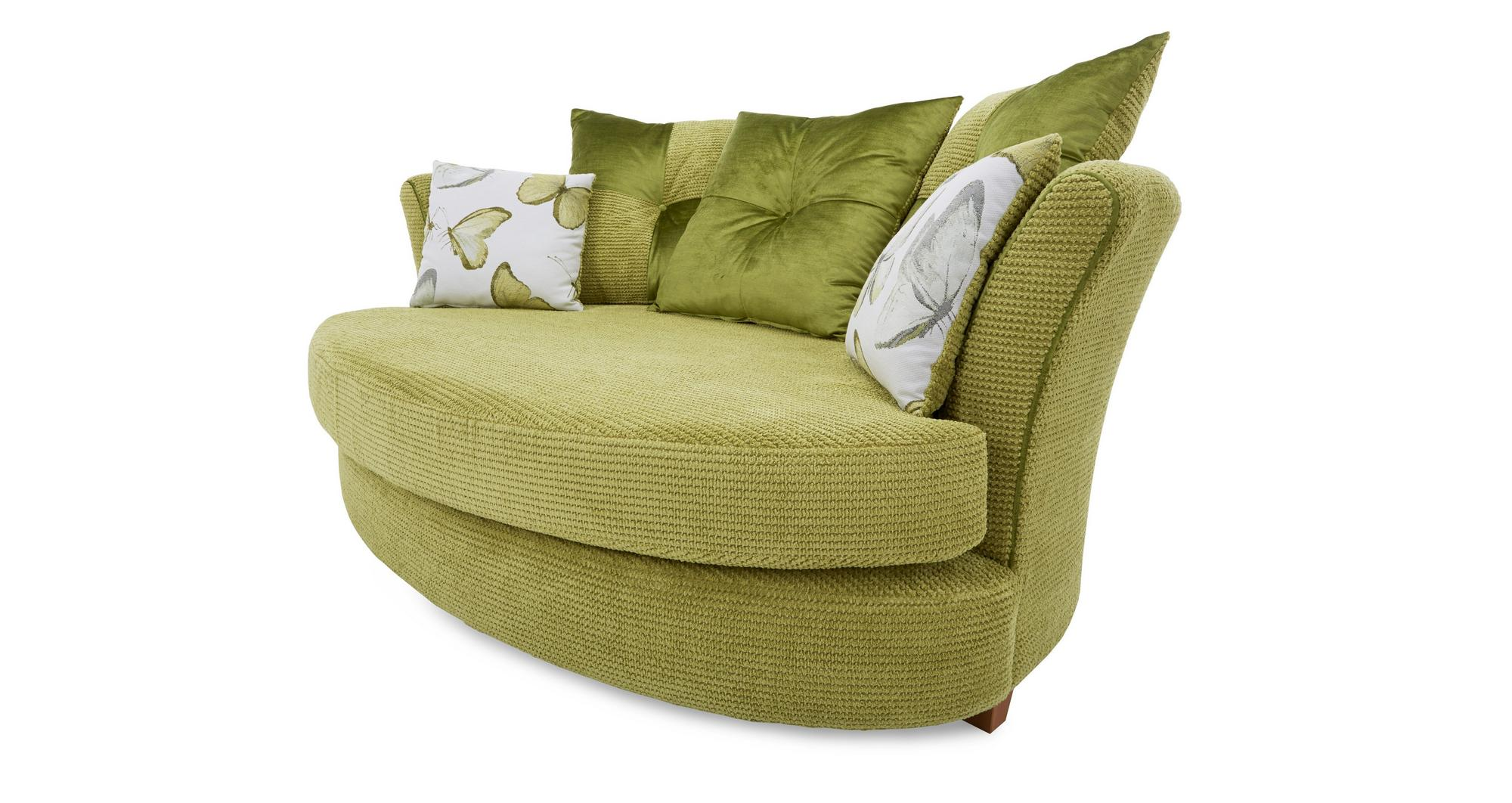 DFS Alegra Lime Green Fabric Cuddler Sofa & Patterned Accent Chair
