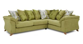 Alegra Left Hand Facing 3 Seater Pillow Back Corner Sofa