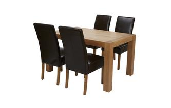 Fixed Table & Set of 4 Ariana Light Leg Chairs Andorra Oak