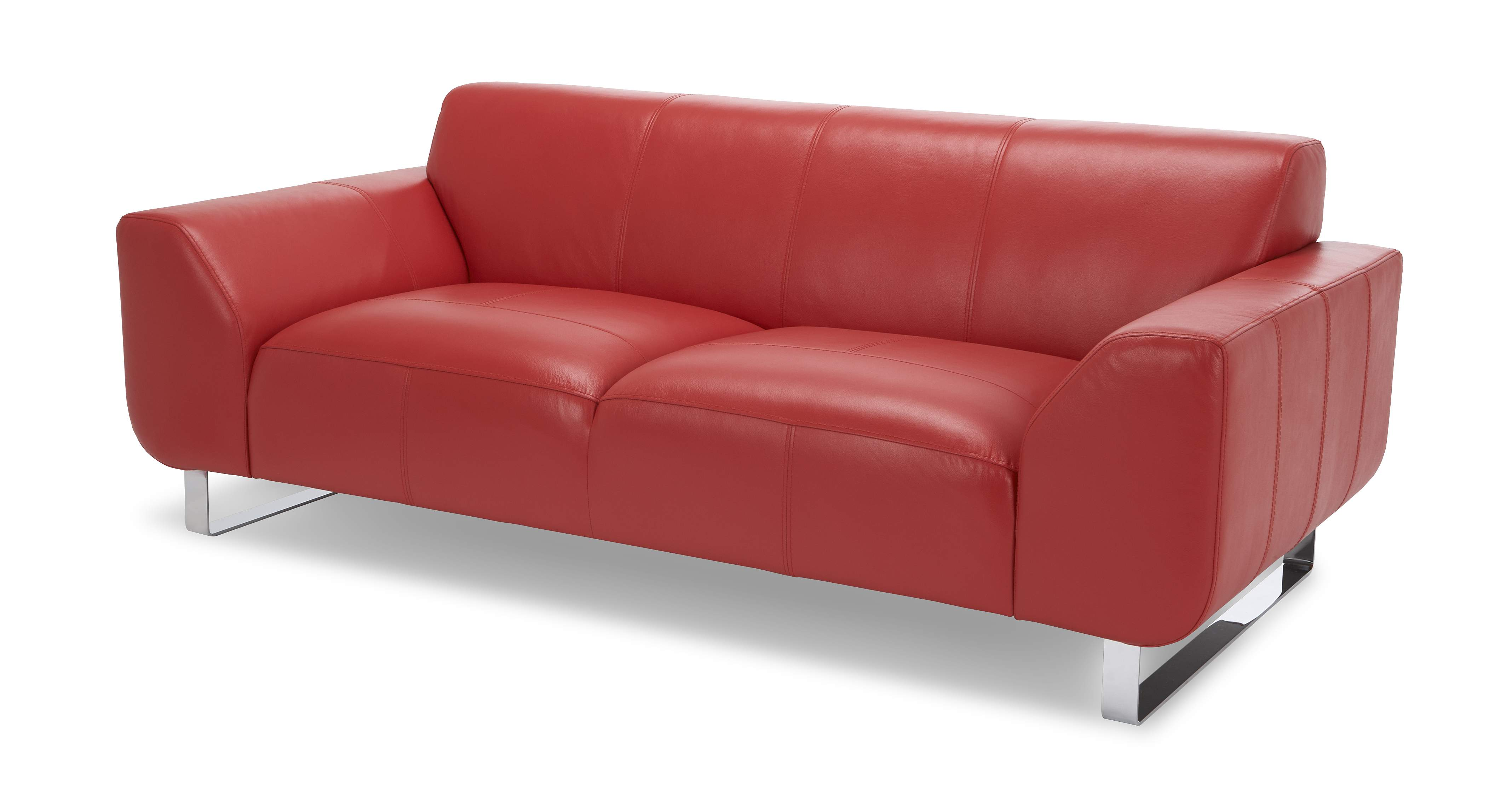 DFS Aspect Set 3 Seater Red Leather Sofa 2 Seater