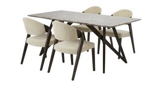 Asteria Fixed Table & Set of 4 Chairs