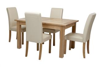 Aston Medium Extending Table & Set of 4 Cream Chairs