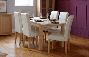 Aston Medium Extending Table & Set of 4 Cream Chairs Aston
