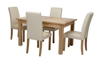 Large Extending Table & Set of 4 Cream Chairs Aston