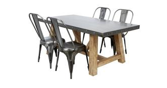 Atom Fixed Top Table & Set of 4 Chairs