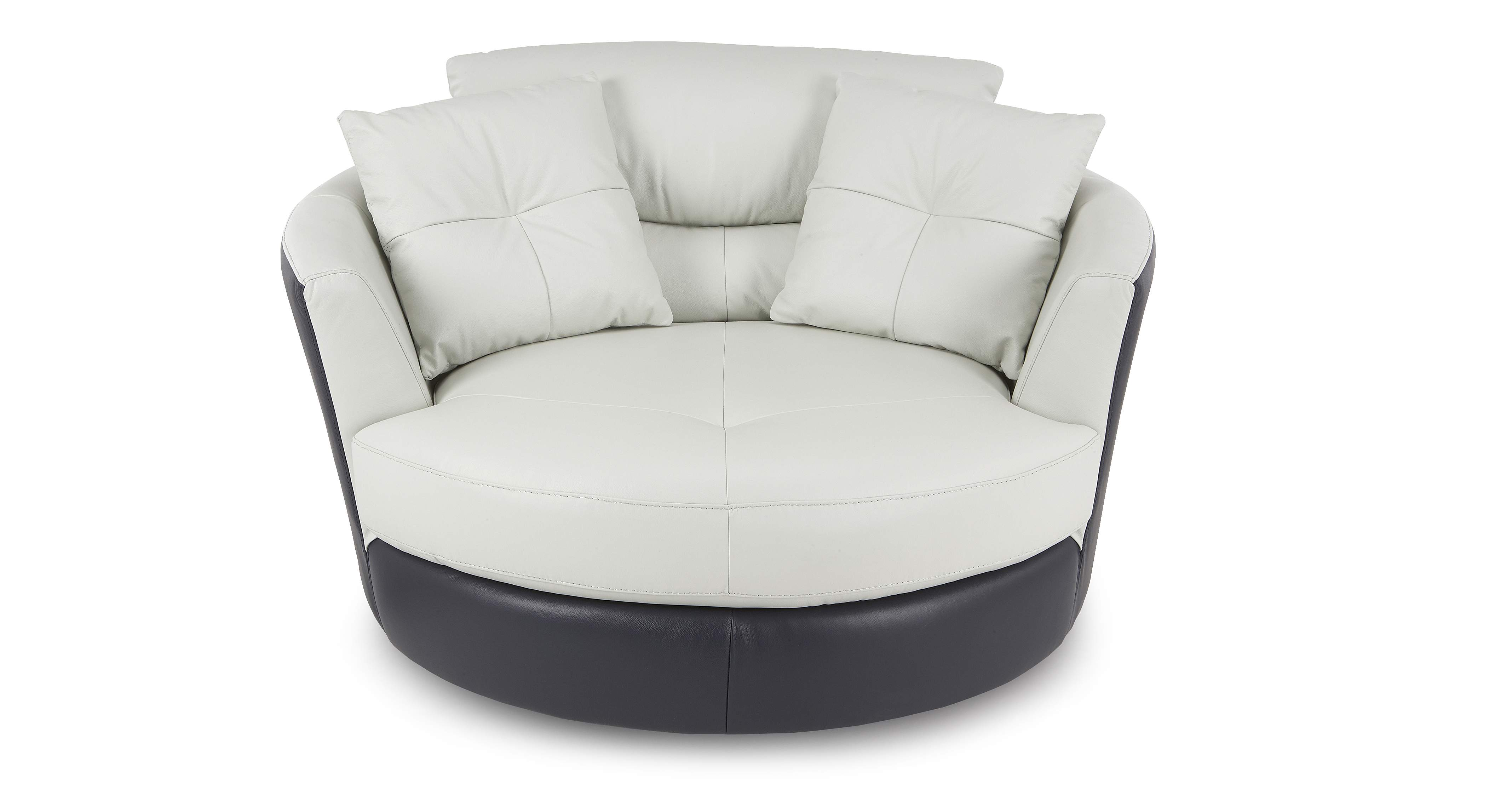DFS Azure Set Includes White Leather Swivel Chair and Half