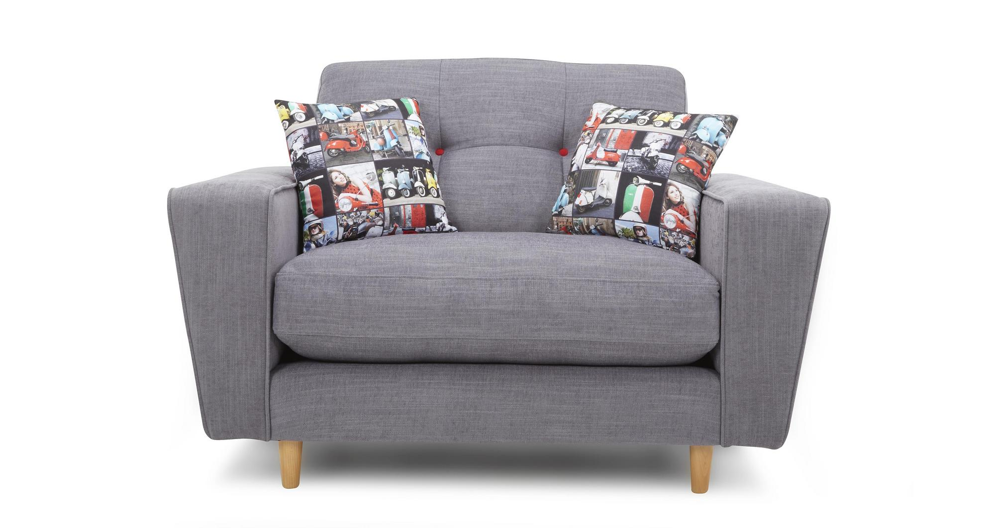 Dfs Beckett Grey Fabric Cuddler Sofa 57328 Ebay