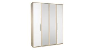 Blanco 4 Door Bi Fold Mirror Robe