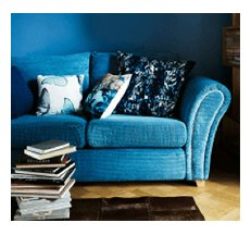 blue sofa bed closed
