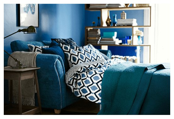 blue sofa bed open