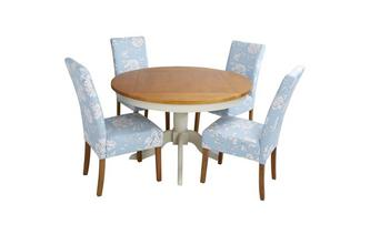 Round Fixed Top Table & Set of 4 Upholstered Chairs Bluebell