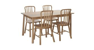 Bramley Medium Fixed Dining Table & Set of 4 Chairs