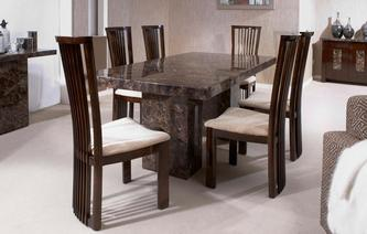 Brisbane Rectangular Table and 4 Salvadore Chairs Brisbane Marble