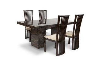 Rectangular Table and 4 Salvadore Chairs Brisbane Marble
