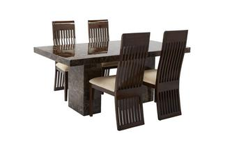 Rectangular Table and 4 Lima Chairs Brisbane Marble